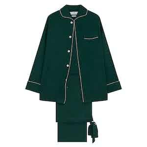 Dark Green Silk Pyjama Set