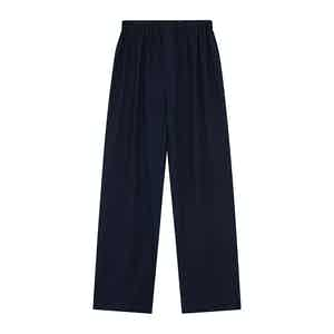 Navy Cotton and Cashmere Blend Pyjama Trousers