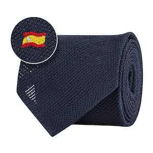Blue Silk Gauze Spanish Flag Tie