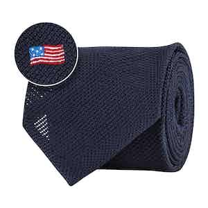 Blue Silk Gauze USA Flag Tie