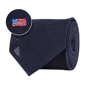 Blue Silk Gauze USA Flag Tie
