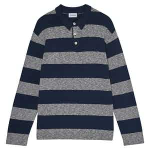 Navy Rugby Striped Cotton Long-Sleeved Polo Shirt
