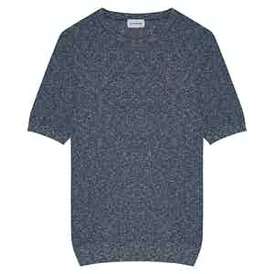 Blue Raw Combined Cotton Crew Neck T-Shirt
