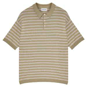 Camel Portofino Striped Cotton Short-Sleeved Polo Shirt