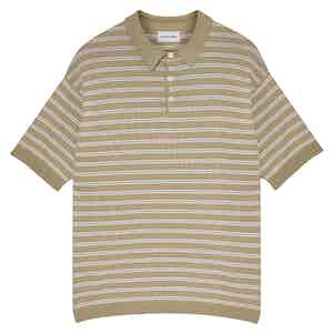 Camel Portofino Striped Cotton Short-Sleeved Polo Shirt