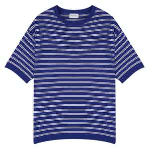 Royal Blue Portofino Striped Cotton Crew Neck T-Shirt