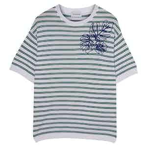 Green & Blue Embroidered Portofino Striped Cotton Crew Neck T-Shirt