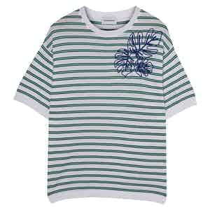 Green & Blue Embroidered Portofino Striped Cotton Crew Neck T-Shirt