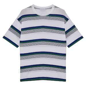 White Amalfi Striped Cotton Crew Neck T-Shirt