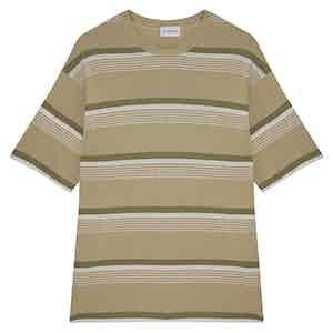 Camel Amalfi Striped Cotton Crew Neck T-Shirt