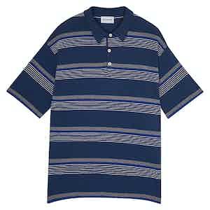 Navy Amalfi Striped Cotton Short-Sleeved Polo Shirt