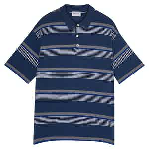 Navy Amalfi Striped Cotton Short-Sleeved Polo Shirt