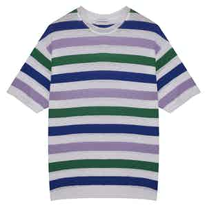 Purple, Green & Navy Capri Striped Cotton-Linen T-Shirt
