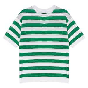 Green Capri Striped Cotton-Linen T-Shirt