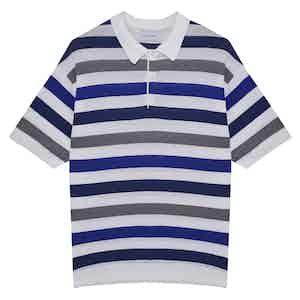 Blue & Grey Capri Striped Cotton-Linen Short-Sleeved Polo Shirt