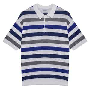 Blue & Grey Capri Striped Cotton-Linen Short-Sleeved Polo Shirt