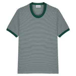 Green Positano Striped Cotton Crew Neck T-Shirt