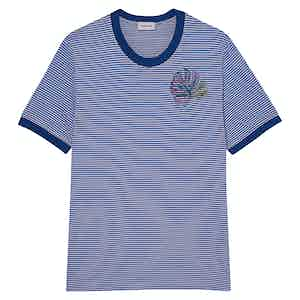 Royal Blue Positano Striped Cotton Crew Neck T-Shirt