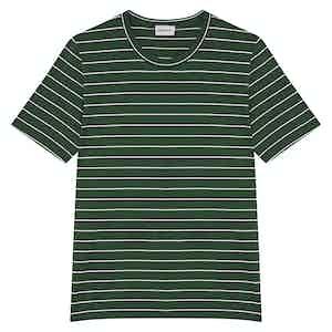 Green Venezia Striped Cotton Crew Neck T-Shirt