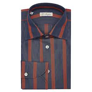 Navy and Red Large Striped Classic Collar Cotton Shirt