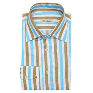 Tiffany and Camel Large Striped Capri Collar Cotton Shirt