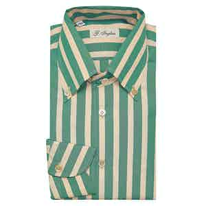 Green and Pink Large Striped Anacapri Collar Cotton Shirt