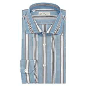 Indigo Multi Stripe Classic Collar Cotton Chambray Shirt
