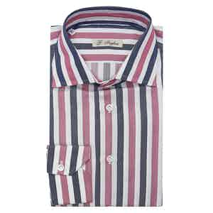 Navy and Fuchsia Large Striped Classic Collar Cotton Shirt