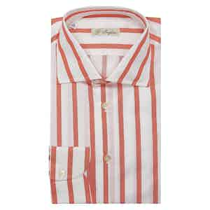 Red and White Alternate Stripe Classic Collar Cotton Shirt