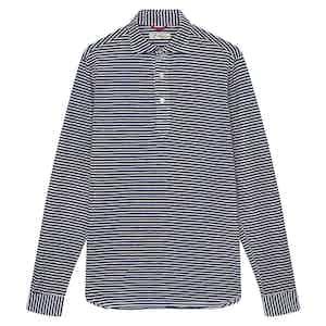 Navy and White Horizontal Stripe Cotton Piqué Polo Shirt