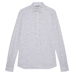 Navy and White Striped Agnelli Jersey Polo Shirt