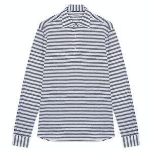 Navy and White Horizontal Stripe Cotton and Linen Capri Polo Shirt
