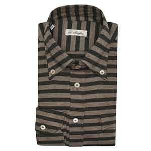 Green and Brown Horizontal Stripe Cotton Jersey Shirt
