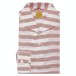 Red and White Striped Linen Capri Polo Shirt