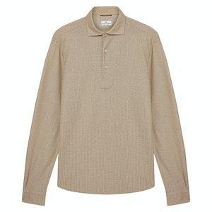 Beige Textured Cotton Polo Shirt
