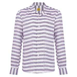 Purple and White Striped Linen Overshirt