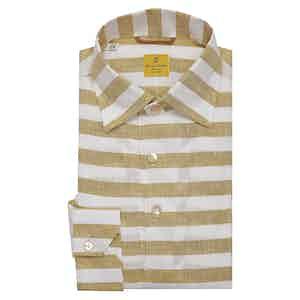 Yellow and White Striped Linen Capri Polo Shirt