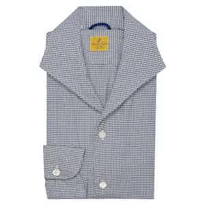 Navy Elvis Micro Check Cotton Shirt