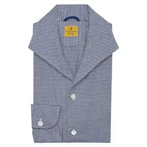Navy Elvis Micro Check Cotton Shirt
