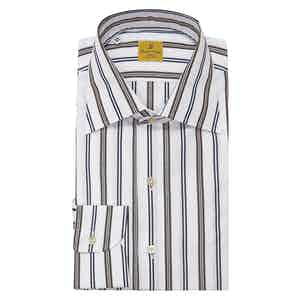 Navy and Brown Multistripe Classic Collar Cotton Shirt