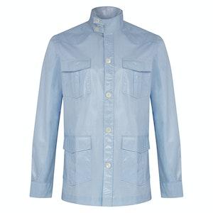Light Blue Cotton Waterproof Sahariana