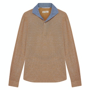 Orange Cotton Piqué Polo Shirt with Blue Contrast Collar