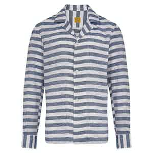 Navy and White Linen Stripe Overshirt