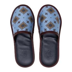 Blue & Burgundy Medallions Silk & Leather Slippers