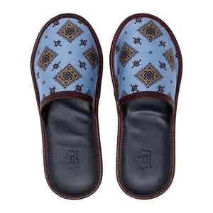 Blue & Burgundy Medallions Silk & Leather Slippers