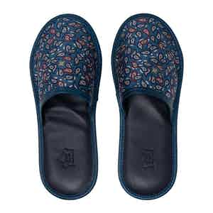 Dust Blue Paisley Silk & Leather Slippers