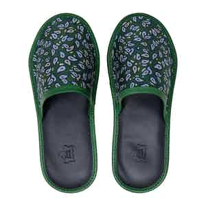 Green Paisley Silk & Leather Slippers