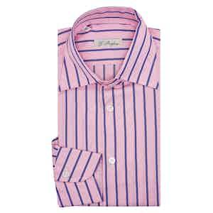 Pink Violet Cotton Stripe Capri Collar Shirt