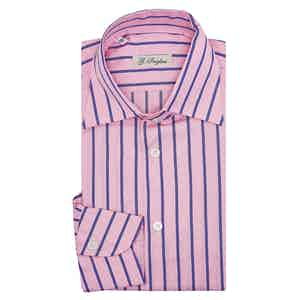 Pink Violet Cotton Stripe Capri Collar Shirt