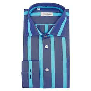 Turquoise Blue Cotton Large Stripe Classic Collar Shirt